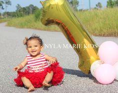 Red and Gold First Birthday Dress,  Baby First Birthday by NylaMarieKids