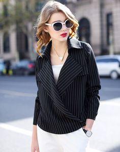 #AdoreWe #VIPme Blouses & Shirts - MEETLADY Black Lapel Stripe Long Sleeve Shirt - AdoreWe.com