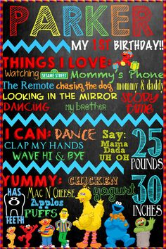 Sesame Street Birthday Board for babies first birthday or any kids birthday!  Chalkboard Baby Kid Board Custom just for you!  Big Bird etc