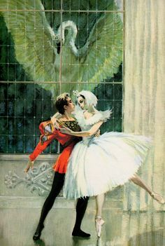 'The Royal Book of Ballet' by Shirley Goulden; Illustrated by Libico Maraja, Publisher: Follet Publishing Company, Chicago, Printed in Italy. Ballet Art, Ballet Dancers, Ballet Painting, Swans, Ralph Steadman, But Is It Art, Vintage Ballet, Lake Art, Ballet Costumes