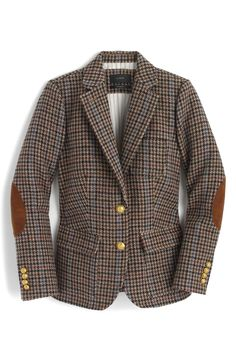 crew rhodes blazer in houndstooth wool; or, the most perfect blazer in the land. Brown Corduroy Jacket, Houndstooth Jacket, Brown Jacket, Corduroy Blazer, Pijamas Women, J Crew Jacket, Brown Blazer, Blazer Outfits, Tweed Blazer Outfit