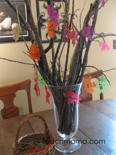 our thankful tree | a homemade look at all we have to be thankful for, using backyard sticks and leaves #weteach