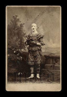 Talk about a creepy clown!   RESERVED / Do Not Buy // Rare 19thC Cabinet Photo by diabolus, $499.99