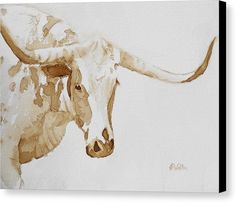 Coffee Painting - Longhorn by Judy Fischer Walton Watercolor Animals, Watercolor Art, Watercolor Illustration, Fine Art Amerika, Longhorn Cattle, Art Aquarelle, Gado, Coffee Painting, Coffee Artwork