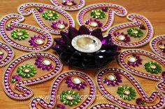 Diwali - Lotus keri rangoli- in Purple with green flowers