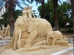 """Elephant - """"Tarzan and Jane"""" Sand sculpture by Susanne Ruseler, Tel Aviv, Israel, 2013 Snow Sculptures, Sculpture Art, Unusual Art, Unique Art, Statues, Concrete Sculpture, Ice Art, Snow Art, Grain Of Sand"""
