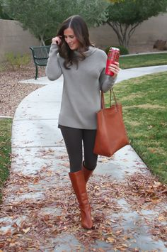 Toggery Leggings, Brown Turtleneck Sweater, Cognac Boots and Tote, Old Navy, Loeffler Randall, Madewell 3