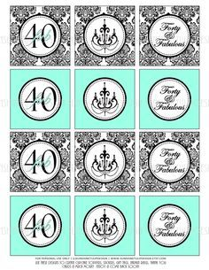 Printable 40th Birthday Damask Black and Aqua Cupcake Toppers Sticker Labels & Gift Tags by SUNSHINETULIPDESIGN by sunshinetulipdesign on Etsy