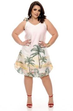 Vestido Linho Plus Size Zorah Plus Size Summer Outfit, Plus Size Outfits, Summer Outfits, Summer Dresses, Girl Fashion, Plus Fashion, Womens Fashion, Modelos Plus Size, Beachwear