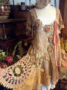 ☮ American Hippie Bohéme Boho Style ☮  Crochet Doily Dress