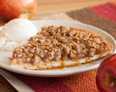 The fun fall flavors of Apple Crisp baked on a pizza crust, yummy!