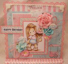 ELITE4U Magnolia Tilda Ice Cream Birthday Handmade Card by Rina