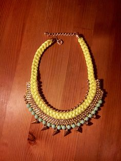 THE LAUREN NECKLACE. Neon Yellow Gold & Turquoise by OWhyDontYou, $15.00