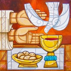 """Catholic Teaching: During the Liturgy of the Eucharist, the priest extends his hands over the gifts, and it is at this moment when the Holy Spirit is called upon. The word epiclesis means """"invocation"""" in Greek. Good Shepard, The Good Shepherd, Christian Artwork, Christian Images, Religious Images, Religious Art, Corpus Christi, Catholic Sacraments, Church Banners"""