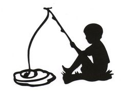 Boy/Child fishing Silhouette die cut for by simplymadescrapbooks