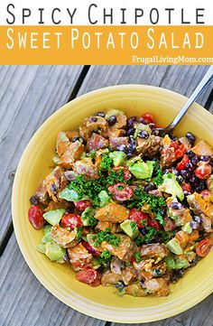 Sweet Potato Summer Salad Recipe: Looking for summer salad? Check out this Spicy Chipotle Sweet Potato Salad. It's got ALL the good stuff. Vegetarian Recipes, Cooking Recipes, Healthy Recipes, Veggie Recipes, Salad With Sweet Potato, Potato Salad, I Love Food, Good Food, Hot Pot