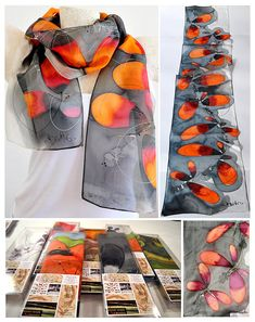 Silk scarf Handmade unique silk accessories gift idea by PutSvile