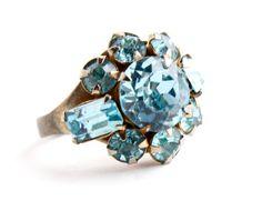 Vintage Blue Rhinestone Ring -  Adjustable Cocktail Blue Glass Costume Jewelry / Sky Blue Sparkles