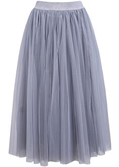 Falda gasa cintura elástica-gris 17.40
