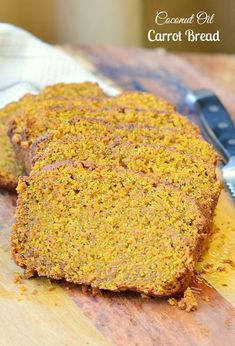 Coconut Oil Carrot Bread. This Carrot Bread is made virgin coconut oil, coconut sugar and sprinkled with sugar/cinnamon mixture on top. | from willcookforsmiles.com #bread #coconutoil #sweetbread