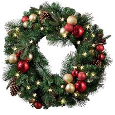 """Regal Pre-Lit LED Christmas Wreath-26"""" ($60) ❤ liked on Polyvore featuring home, home decor, holiday decorations, christmas wreaths, christmas ornaments, red christmas ornaments, artificial christmas wreaths and prelit christmas wreath"""