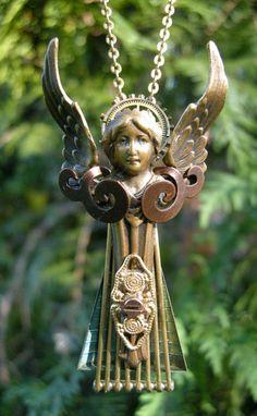 Steampunk Angel necklace, pendant. $54.00, via Etsy.