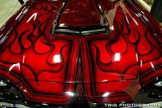 Click this image to show the full-size version. Rc Car Bodies, Custom Motorcycle Paint Jobs, Pinstripe Art, Mustang Bullitt, Pinstriping Designs, Airbrush Art, Car Painting, Kustom, Mopar