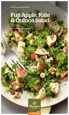 Kale and quinoa tossed with Panera® Fuji Apple Dressing make for an amazing and nutritious salad that's loaded with texture and flavor.