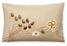 Floral 12x18 Beaded Pillow, Natural on OneKingsLane.com