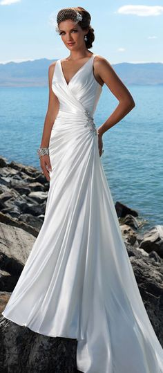 NO.004363)Trumpet / Mermaid V-neck Court Trains Sleeveless Satin ...