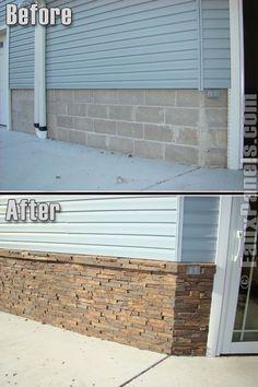 "Siding panels: 44"" × 18"". $28. Interior panels: 48"" x 25"". $93/panel. Also available in brick, fieldstone, cobblestone, river rock, etc."