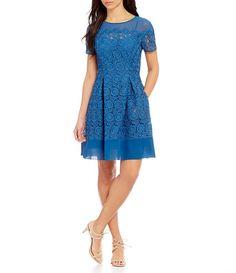 b40e91fb2db Anne Klein Sheer Neck Short Sleeve Crochet Lace Fit   Flare Dress