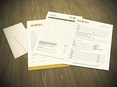 photography business Order Contract and Client info forms