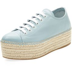 63ffb82c21109 Miu Miu Women s Platform Espadrille Sneaker - Light Pastel Blue, Size...  ( 399) ❤ liked on Polyvore featuring shoes, sneakers, lace up sneakers, ...