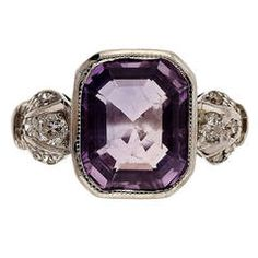 Art Deco Emerald Cut Purple Sapphire Diamond Platinum Ring