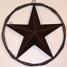 """24"""" LONESTAR WITH SOLD RING & TWISTED WIRE BARN STAR METAL WALL ART WESTERN HOME DECOR BRONZE COLOR - A10024"""