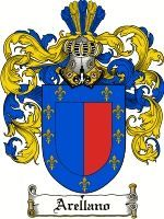 ARELLANO Family Crest / ARELLANO Coat of Arms The surname of ARELLANO was a Spanish habitation name from a place in the province of Navarre, so called from the Latin AURELIANUS meaning 'the farm or estate of Aurelius'. In Spain identifying patronymics are to be found as early as the mid-9th century, but these changed with each generation, and hereditary .....