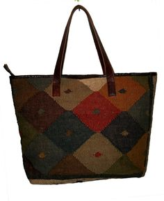 Turkey Kilim Women's Hand Made Bag jute rug tote bag with leather Handel Vintage #Unbranded