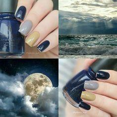 """#лакоколлаж для #лаковаяпалитраSandBeach Когла увидела анонс, в голове был свежий утренний пляж, золотистый песок и теплые волны. А сегодня """"ночь темна и полна ужасов"""" Но не могу не поучаствовать в любимой #лаковаяпалитра от Саши @sunnysky197 Марины @bertram_bunny Лилечки @shy_nails и Лены @lakilakru @chinaglazeru #kalaharikiss #OneTrackMind #ChangeYourAltitude #вседевушкиделаютэто #лаксхарактером #chinaglaze"""