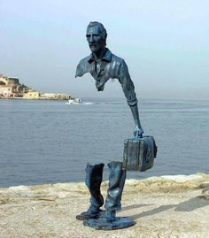 """- is """"I Viaggiatori"""" a sculpture by the artist Bruno Catalano, symbolizing the void created by leaving one's country, one's family, one's people for another life. Sculpture Metal, Lion Sculpture, Wire Sculptures, Abstract Sculpture, Fashion Painting, Statues, Famous Sculptures, Robin Wright, Outdoor Art"""