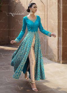 Picturesque Embroidered Work Bhagalpuri Silk Turquoise Designer Suit