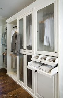 I like the glass doors // Valet Custom Cabinets & Closets - Siena Collection Closet traditional closet. Looking for something similar, just cheaper Dressing Room Closet, Wardrobe Closet, Closet Bedroom, Closet Space, Dressing Rooms, Master Bedroom, Master Closet Design, Master Suite, Glass Closet Doors