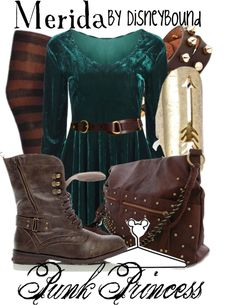 Disney Bound: Merida from Disney's Brave (Punk Princess Outfit) Disney Themed Outfits, Disney Bound Outfits, Disney Dresses, Disney Clothes, Estilo Disney, Cute Disney, Disney Style, Merida Outfit, Merida Dress