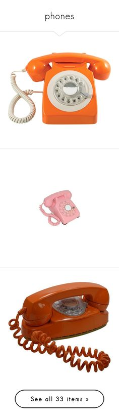 """phones"" by alypusateri ❤ liked on Polyvore featuring home, home decor, fillers, stuff, accessories, decor, british home decor, phone, telephone and pink"