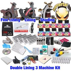 tattoo kit include two lining machines and one shader machine:it could complete all lining work,also could do smaller mags and round shader work including black and grey. tattoo inks made in USA: Immortal ink bottles. Professional Tattoo Kits, Guns, Detail, Tattoos, Top, Weapons Guns, Tatuajes, Handgun, Japanese Tattoos