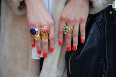 Orange red nails