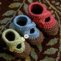Crochet Baby Booties double strap baby booties by xsylver, via Flickr...