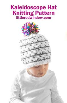 The Kaleidoscope Hat knitting pattern makes a cute winter baby hat with a fun multicolored pom pom on top for your baby or toddler, it's sure to bring a little joy to your winter! Baby Hat Knitting Pattern, Fair Isle Knitting Patterns, Knitting Stitches, Baby Knitting, Hat Patterns, Baby Winter Hats, Baby Hats, Knit Hats, Knitted Hat