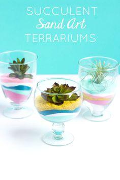 Make these succulent sand art terrariums for modern home decor!