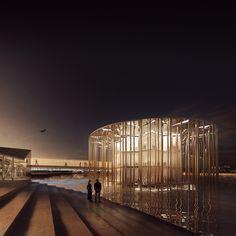 Forbes Massie / 3D Visualisation Studio / London - Work - Hawkins\Brown / Jameel Arts Centre, Dubai 3d Architecture, Architecture Visualization, 3d Visualization, Forbes Massie, Exterior Rendering, Dubai, Design Inspiration, Architectural Presentation, London